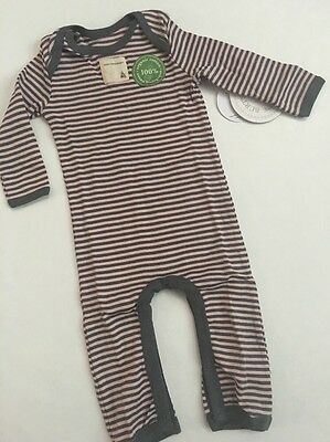 Burts Bees Baby Girl Organic Striped Pink Grey Coverall Size 3 6 9 24 Months
