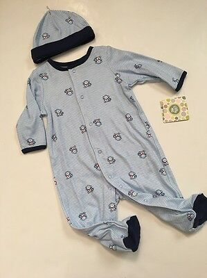 Little Me Baby Boy Coverall Outfit Hat Set Size 6 9  Months Blue Striped Monkey