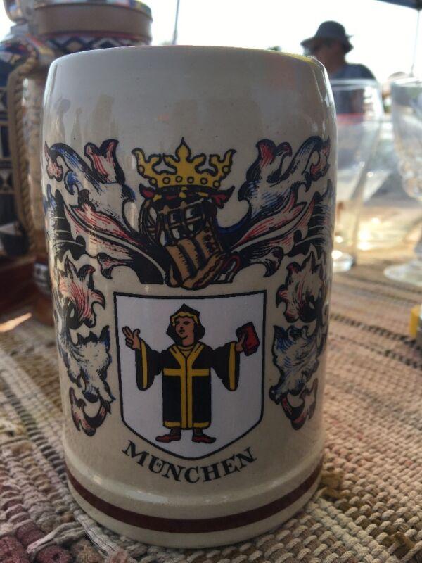 Vintage German Beer Mug Munchen West Germany Hand Painted Beer Stein