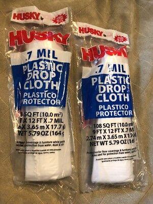 2 Husky PLASTIC PAINTER DROP CLOTH Sheeting Paint .7 Mil 9