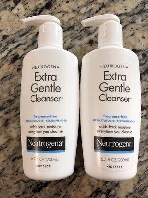 2 Neutrogena Extra Gentle Facial Cleanser Fragrance Free, 6.7 oz (200ml) New