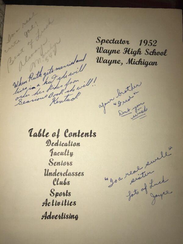 Wayne Memorial High School Yearbook 1952 Michigan