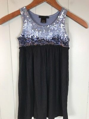 Girl's Flowers by Zoe Black and Blue Sequins Tank Top Dress Size 5