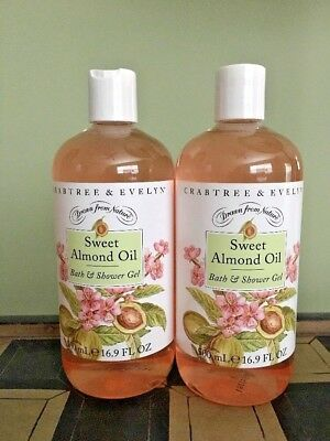 CRABTREE & EVELYN Sweet Almond Oil Bath & Shower Gel 500 mL/16.9 oz ~ 2 BOTTLES! Crabtree & Evelyn Almond Oil