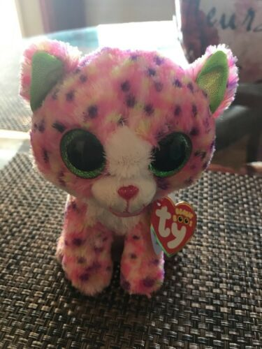 Ty Sophie Pink Polka Dot Cat Boo Small - Stuffed Animal