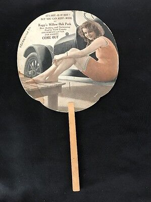 Vintage Hand Fan 1920's Hanover PA Bathing Beauty & 20's Model Car