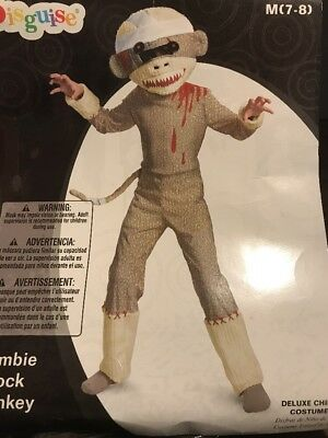 Zombie Sock Monkey Deluxe Costume Child M(7-8) With Defect - Zombie Child