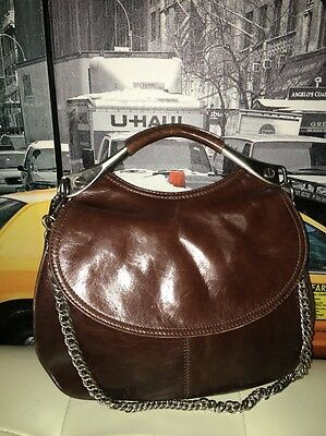 - Kenneth Cole Large Leather Chain Strap Brown Front Flap Tote Purse Bag