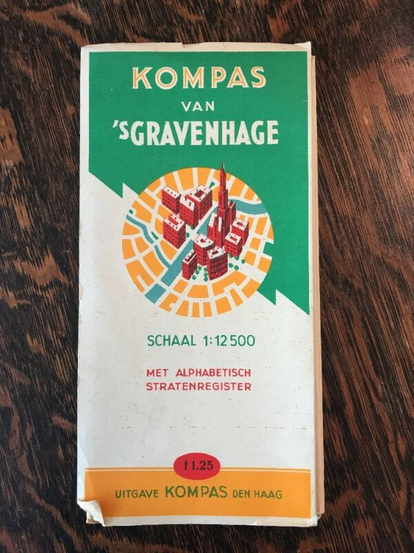 Vintage Map Kompas van S-Gravenhage The Hague Netherlands Dutch