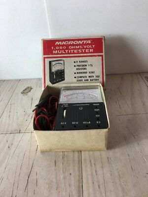 Vintage Micronta 1000 Ohmsvolt Multitester 22-027 With Box