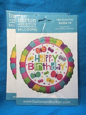 Two New Mylar Happy Birthday With Butterflies Party Celebration Balloons