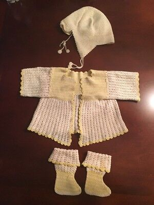 Antique Vintage Handmade Yellow Off White Hat Cardigan Bootie socks Baby Girl