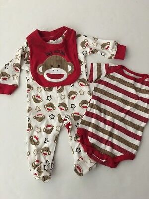 Baby Monkey Outfit (Sock Monkey Baby Boy Coverall Outfit Bodysuit Bib Set Size 3 6 9 Months)