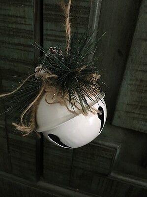 """Rustic Farmhouse Jingle Bell ,White Burlap,Pine Christmas Ornament. 3 1/2"""""""