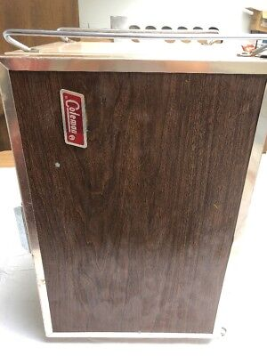 (Vintage Coleman Cooler Convertible Upright Ice Chest Box Wood grain  69JL15)