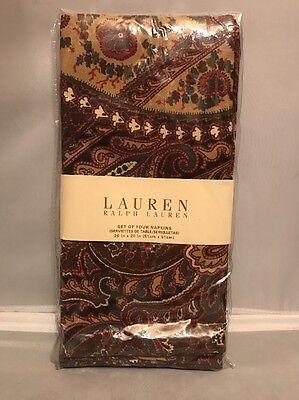 - Ralph Lauren Bridgette Chocolate Paisley Dinner Napkins Set of 4 in Pouch