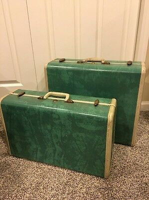 Vintage Samsonite Green Marbled Luggage Suitcases suitcase set of two no keys