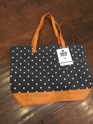 POTTERY BARN TEEN North Field Dottie DOT BEACH Shopper TOTE Navy white Leather
