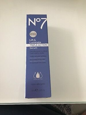 NEW BOOTS No7 LIFT & LUMINATE TRIPLE ACTION SERUM 30ml ANTI AGEING CREAM
