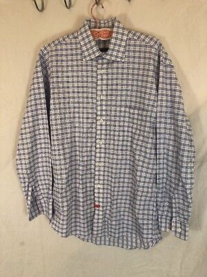 Burberry London Mens Cotton Long Sleeve Button Up Shirt Plaid Checker F2-8