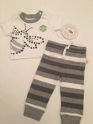 Burts Bees Baby Boy Organic Shirt Pants Outfit Set Size Newborn Grey Layette