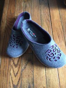 Haflinger Womens Grey/Purple Wool Felt Slip On Shoe Slipper Clogs Sz US 9 EU 40