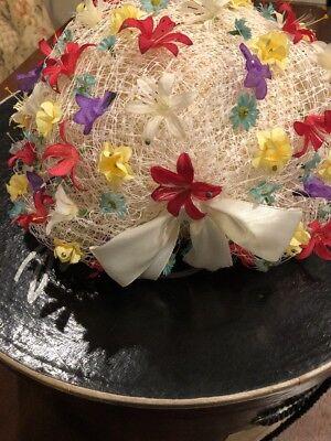 JACK McCONNELL NEW YORK DESIGNER VINTAGE MULTI FLOWER HAT W/ BOX