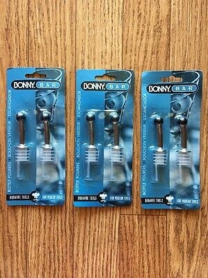 3x Bonny Bar 2 Pack Bottle Pourers Triple Steel Universal Fit
