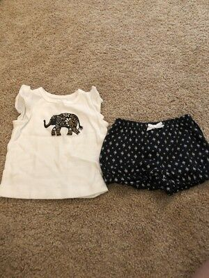 Carters Infant Girls White Blue Elephant Two Piece Outfit 3 Months Blue Infant Two Piece