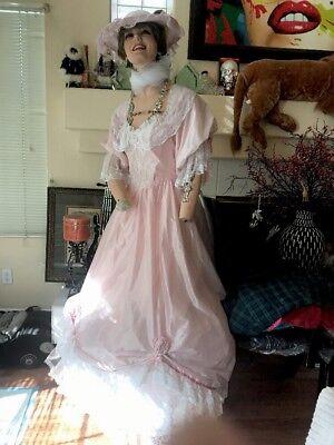 costume ,Custom VintagePINK taffeta&white Lace w/roses,renaissance,17/1800s,S2/8 - 1800 Dress Costume