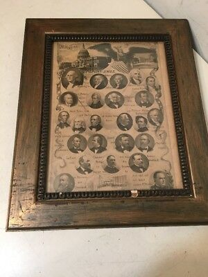 Antique C. 1900 United States Presidents Memory Jingle Litho Or Print