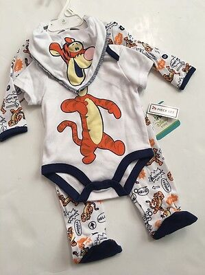 Disney Tigger Baby Boy Bodysuit Coverall Sleeper Bib Size 3 6 9 Months Layette Tigger Sleeper