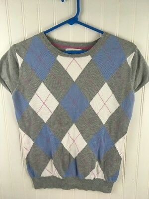 Merona Girls Size Large Sweater Vest Diamond Argyle Sleeveless Striped - Girls Argyle Sweater