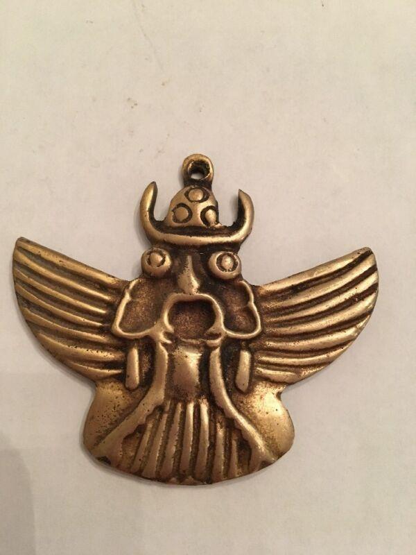 Very Rare Vintage Nepal Brass King Garuda Deity Amulet Pendant