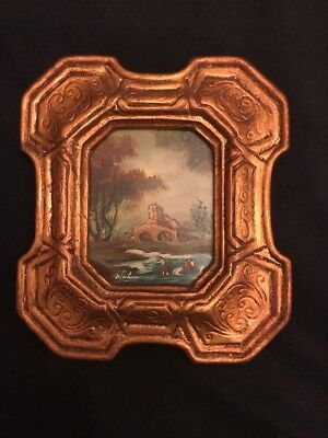 FAB! Antique 20's Miniature Landscape Painting Oil on Wood Board Signed & Framed