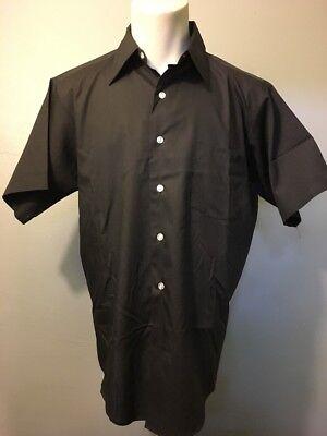 Vtg 1960s 60s NOS Black Poly Cotton Dress Shirt Mens M-L Rockabilly Mod Gangster (60s Gangster)