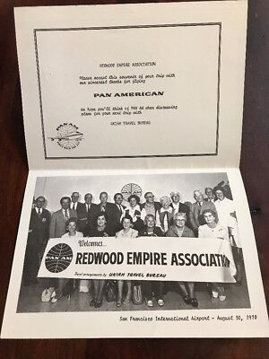 Vintage 1970s PAN AM Airlines Memorabilia Welcomes Redwood Empire Assoc. Card