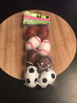 Sport Easter Eggs (NIP 8 Count Sports Eggs Treat Containers Easter Football Basketball Soccer)