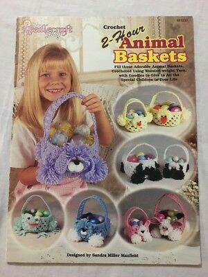 2-Hour Animal Baskets Frog Bunny Chick Cat Dog Lamb crochet patterns Leaflet