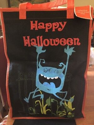 Lg Reflective Monster Halloween Trick or Treat Bag Safety Candy Tote vtg Target