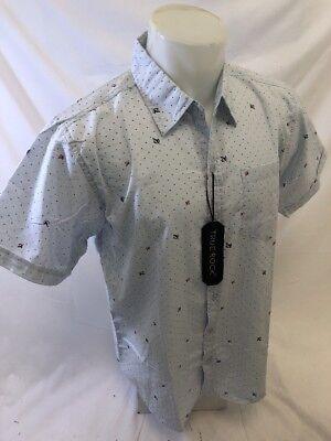 Mens TRUE ROCK Designer Shirt LIGHT BLUE Woven SHORT SLEEVE Shirt 1 POCKET 120 (Light Blue Rock)