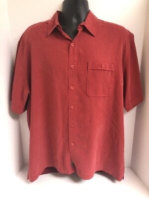 Poly Front Pocket Short (REI Burgundy Rayon Poly Short Sleeve Pocket Button Front Shirt Mens Sz)