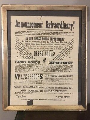 Antique Framed Broadside Advertisement Fall Winter Fashion Van's Tipton IA 1880s