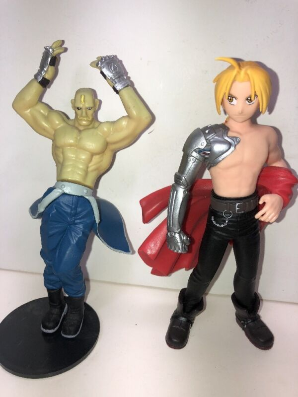 "6"" Full Metal Alchemist "" Edward Elric"" & "" Alex Armstrong"" 2 Figurines Awesome."