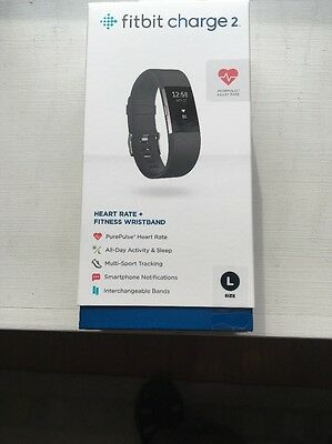 FITBIT CHARGE 2 Activity Tracker + Heart Rate ( Large Black ) NIB M.S.R.P. $149