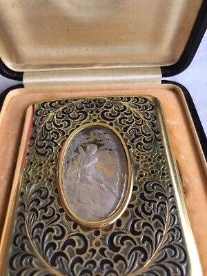 Antique Bruder Frank935 Silver Dresser  Cigarette Guilloche and Enamel Reduced$