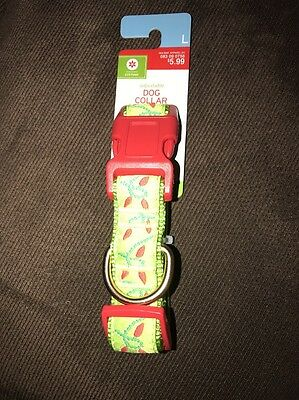 TARGET BRAND Adjustable Dog Collar Holiday Christmas GREEN/RED LIGHTS Large NWT