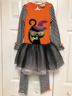 NEW Emily Rose Halloween Cat 2 Pc Tutu Top Striped Pants Girls Sz 8 Orange NWT