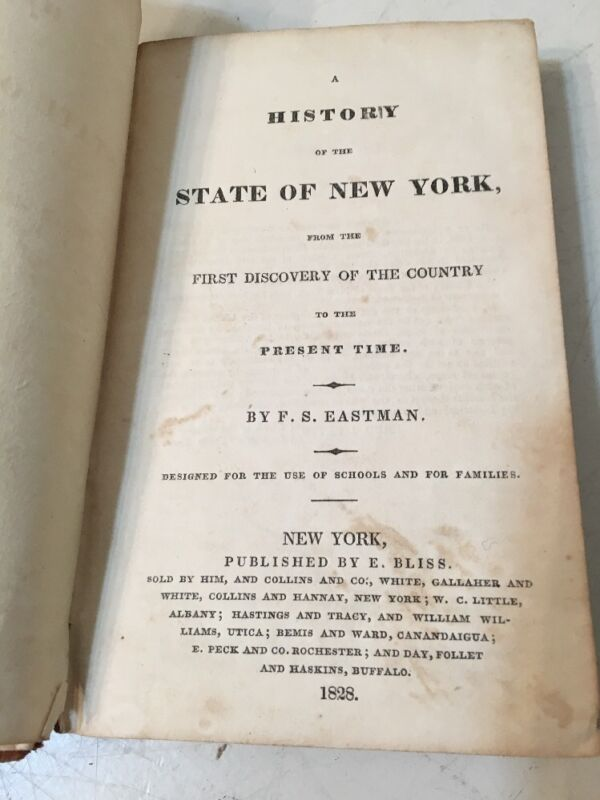 Antique 1828 History Of The State Of New York Book Eastman