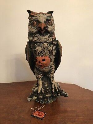 Bethany Lowe Vergie Lightfoot Halloween Owl Container w/Jack O'Lantern—Retired